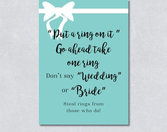 Put a ring on it / Don't say wedding / Bridal shower game / Bridal and co theme / Light blue color / White Ribbon / INSTANT DOWNLOAD
