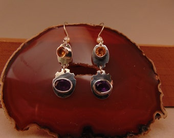 Sterling Silver Drop Earrings with Garnet and Citrine