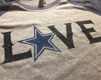"""Dallas Cowboys Football  """"LOVE"""" Blingy  Raglan Shirt with Star in Blue and Black Glitter"""