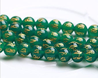 Carved Green Agate OM mani padme hum round loose beads strand 16'' 8mm 10mm 12mm 14mm