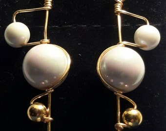 Handmade Shimmering Pearl and Gold Abstract Orbit Earrings