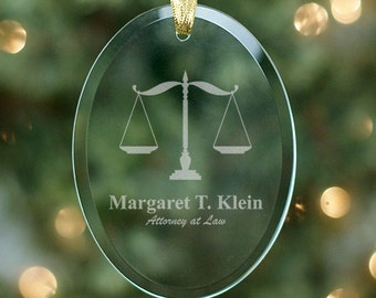 Lawyer Engraved Oval Glass Ornament - Personalized with Name of Lawyer