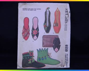 McCall's Printed Pattern 6559, 3 Sizes (4 1/2 - 8 1/2), Women's and Girls' Felt Slippers and Felt or Fabric Case, Uncut