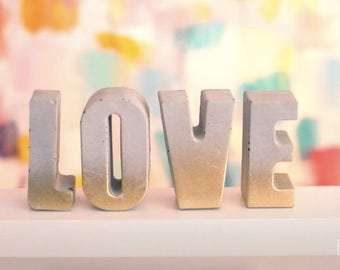 Concrete Gold Ombre LOVE Letters, set of 4 letters