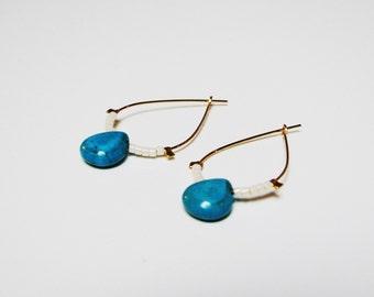 Drop earrings, 14 K gold plated beads and Turquoise II Bohemian Style everyday jewelry II II semi-precious stone