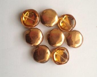 Flat glass beads Orange-bronze pieces 7 Pentagon