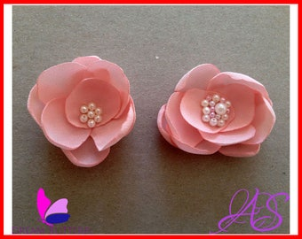 How to Make Fabric Flower with Beaded Center - Instant Download PDF Photo Fabric Flowers Tutorial Pattern DIY crafting supplies