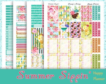SALE~Summer Sippin'~Printable Happy Planner Stickers Weekly Kit For The Classic MAMBI Happy Planner