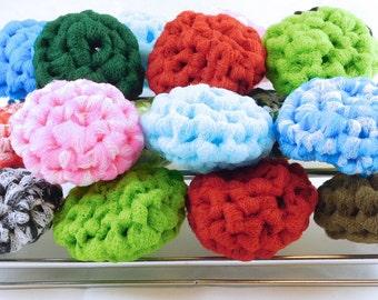 Crochet Scrubbies/Nylon Pot Scrubbers/Tulle Dish Scrubby - Lot of 3 - Handmade in US