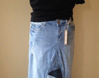 Upcycled Denim - Long Jean Skirt - Petite - Size 13/14