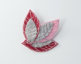 felted leaves brooch, burgundy pink gray brooch