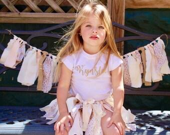 Fabric tutu birthday tutu first birthday outfit smash cake outfit shabby chic fabric tutu half birthday tutu skirt little girl skirt