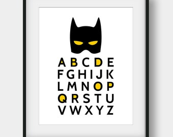 60% OFF Batman Alphabet, Batman Quote, Batman Print, Printable Art, Boys Room Decor, Nursery Decor, Superhero Alphabet, Alphabet Poster
