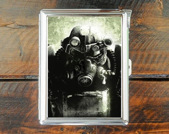 cigarette case FALLOUT armor painting bunker wallet card money holder cigarettes box