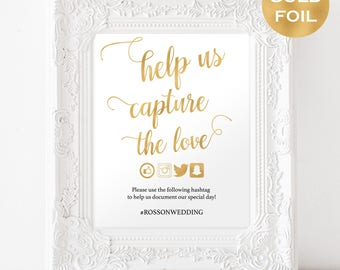 Gold Wedding Hashtag Sign - Capture the Love Hashtag Sign Printable - Social Media Signs - Gold Wedding - Downloadable wedding #WDH812243