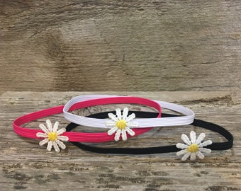 Thin elastic headband with daisy - flower headband - headband - baby headband - cute headband