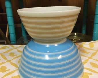 Vintage Pyrex Stripes Blue and Tan | Pyrex Stripes |