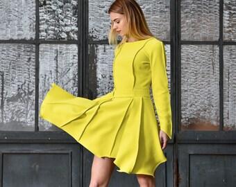 Short Yellow Dress, Pixie Dress, Plus Size Dress, Long Sleeve Tunic Dress, Flare Dress,Yellow Bridesmaid Dress, Day Dress,Yellow Party Dress