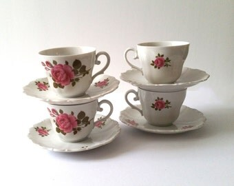 Sweet cups with saucers rose pattern