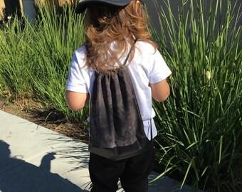 Drawstring Bag - Drawstring Backpack - Toddler Backpack - Kids Backpack - Black Vinyl - Grunge Backpack - Grey Bag