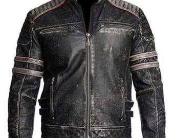 Mens Vintage Leather Jacket Distressed Brown Motorcycle Leather Jacket