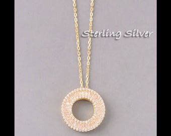Sterling Silver Circle Cutout Necklace