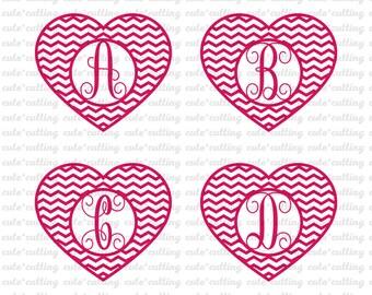 Heart Monogram Font svg, Heart chevron svg, vine svg, Letters svg, Initials svg, dxf jpeg cutting files for Silhouette Cameo, Cricut