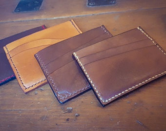 Two Slot Card Holder with Note Pocket, Leather Gift