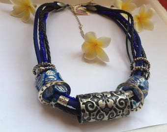 Beautiful neklace blue leaves /polymer clay /unique gift.