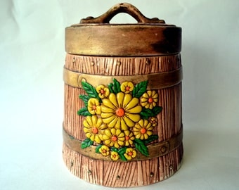 Vintage Faux Bois Ceramic Bucket Canister with Yellow & Orange Flowers, Retro Ceramic Kitchen Canister, Cookie Jar, 1970s Kitchen Decor 300