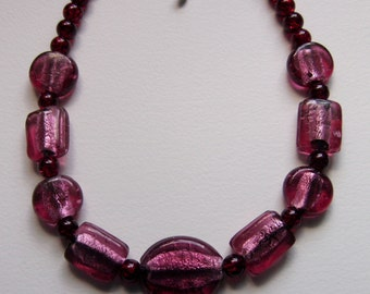 Chunky pink glass necklace