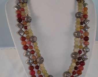"Vibrant Apple Jade LAINE HOADLEY 19"" Necklace"