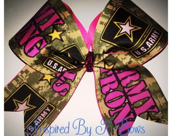 Army Camouflage Cheer Bow