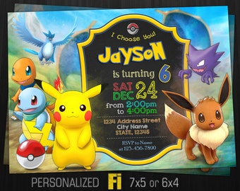 Pokemon Invitation, Pokemon Birthday Party, Eevee Invitation, Anime, Pokemon Go, Game, Nintendo, Personalized, Printable, Digital File
