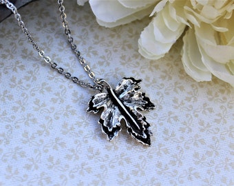 Leaf necklace, leaf jewelry, nature jewelry, silver leaf necklace, antique silver leaf pendant, simple nature necklace, nature lover gift
