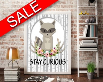 Wall Art Stay Curious Digital Print Stay Curious Poster Art Stay Curious Wall Art Print Stay Curious Kids Art Stay Curious Kids Print Stay