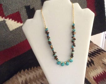 Turquoise Teardrop, Turquoise Chips, Tiger Eye Chips Necklace