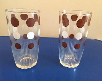 Mid-century (2) tall Polka Dot drinking glasses - retro-vintage-FREE SHIPPING!!