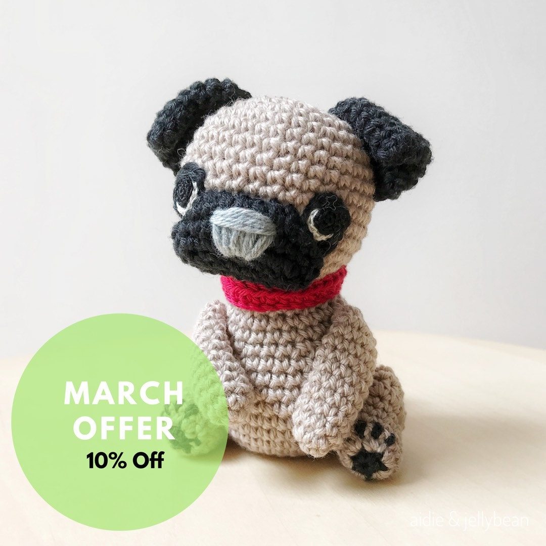 PUG PUPPY crochet amigurumi with bow collar by ...
