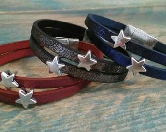 Iridescent leather Cuff Bracelet