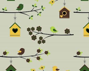 Jersey fabric birds, 7403