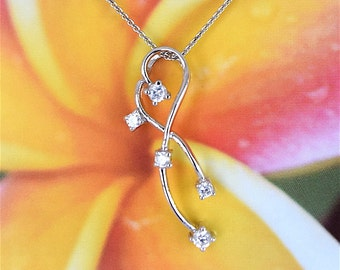 Cubic Zirconia Pendant, Sterling Silver Clear Cubic Zirconia Necklace With 18 inch Cable Chain, N2513