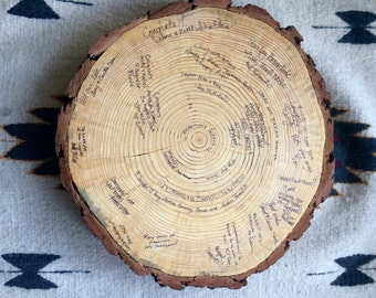 Wooden Round Alternative Guest Book