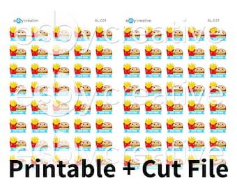 Fast Food Burger + Fries - Digital Files for Erin Condren, Happy Planner, Personal Planner Sticker Printable INSTANT DOWNLOAD - AL-031