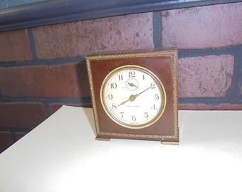 A Vintage Seth Thomas Severn Leather Wind Up Alarm Clock