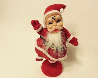Vintage Felt Santa Claus Figurine from the 1950's, Christmas Decor, Dancing Santa