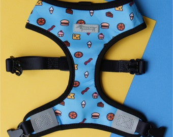 Reversible cute dog harness with junk food and vegetables. Burger pizza bacon and eat clean! 2-in-1 dog harness. Clean eating. Foodie.
