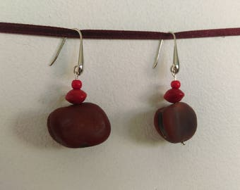Natural Earrings: bean and seed Church