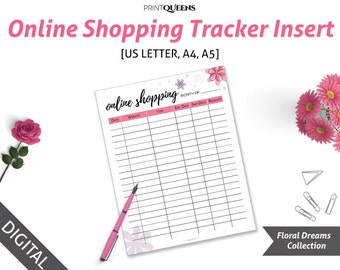 Shopping Tracker, Shopping List, Online Shopping Tracker, Package Tracker, Shipping Tracker, Order Tracker, A5/A4/US Letter, Planner Inserts