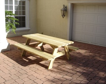 hand made 6' treated pine picnic table, clear no stain